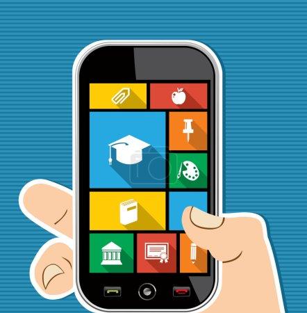 Photo pour Retour à l'école main humaine détient un téléphone intelligent applications Internet interface utilisateur graphique icônes plates ensemble. Vecteur stratifié pour un montage facile . - image libre de droit