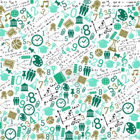 Illustration for Back to School green icons education seamless pattern background. Vector layered for easy personalization. - Royalty Free Image