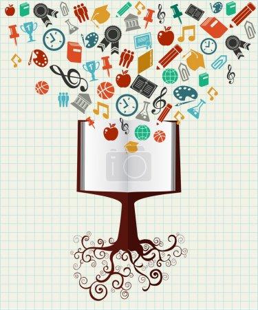 Photo pour Retour à l'école livre arbre éducation icônes colorées. Vecteur stratifié pour une personnalisation facile . - image libre de droit