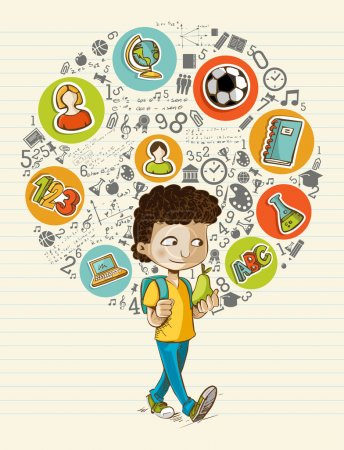 Illustration for Education back to school cartoon boy colorful global icons. Vector layered for easy personalization. - Royalty Free Image
