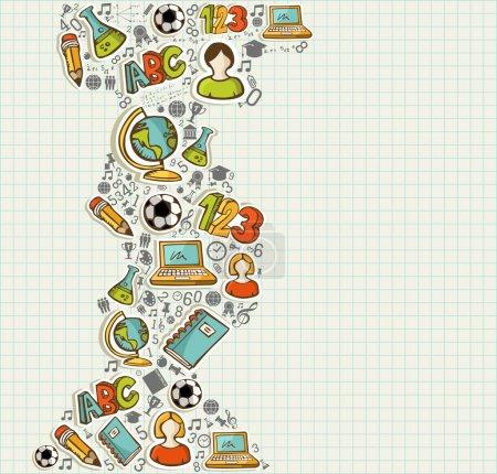 Illustration pour Éducation retour à l'école icônes de dessins animés colorés sur fond de feuille de grille. Vecteur stratifié pour une personnalisation facile . - image libre de droit