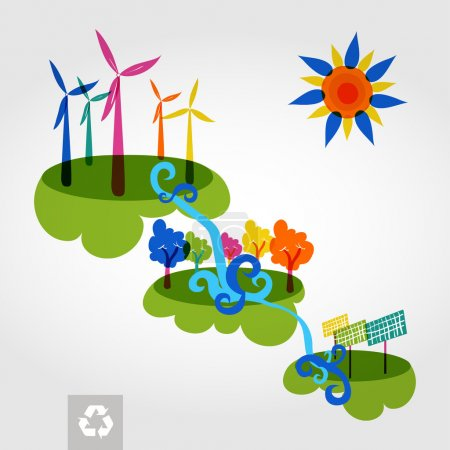 Illustration for Go green colorful city wind turbines, trees and solar panels. Industry sustainable development with environmental conservation background illustration. Vector file layered for easy editing. - Royalty Free Image