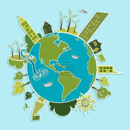 Illustration for Eco friendly green world trees, buildings, houses, wind turbines and green sun illustration. Vector layered for easy editing. - Royalty Free Image
