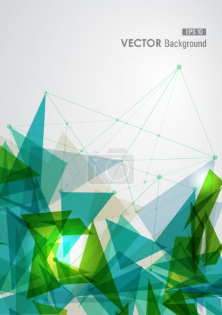 Illustration for Modern blue and green network transparent triangles abstract background illustration. EPS10 vector with transparency organized in layers for easy editing. - Royalty Free Image