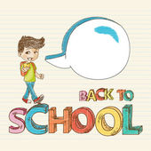 Colorful back to school kid with social media speech bubble education sketch style background illustration Vector file layered for easy editing