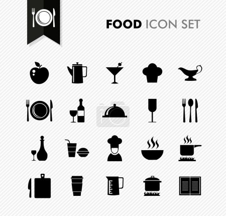 Illustration pour Noir isolé icône de la nourriture ensemble restaurant menu éléments arrière-plan illustration. Fichier vectoriel stratifié pour une édition facile . - image libre de droit