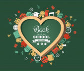 Welcome back to school heart shaped chalkboard green background colorful icons illustration Vector file layered for easy editing