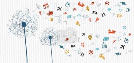 Illustration pour Expédition logistique icônes volantes illustration de concept de pissenlit. Fichier vectoriel en couches pour faciliter l'édition . - image libre de droit