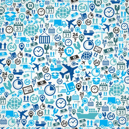 Ilustración de Envío logística concepto azul los iconos, fondo transparente. Vector en capas para poder editarlos fácilmente. - Imagen libre de derechos