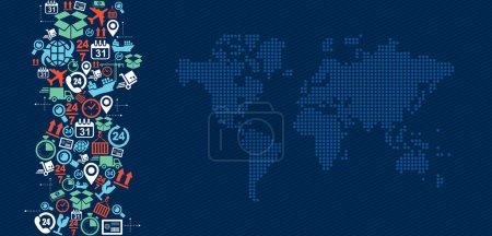 Ilustración de Envío chapoteo de iconos de concepto de logística con Ilustración mapa mundial. archivo vectoriales en capas para poder editarlos fácilmente. - Imagen libre de derechos