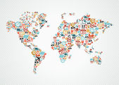 Delivery world map colorful shipping web icons illustration