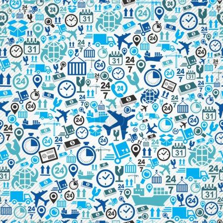 Illustration pour Concept logistique d'expédition icônes bleues, fond de motif sans couture. Vecteur stratifié pour un montage facile . - image libre de droit
