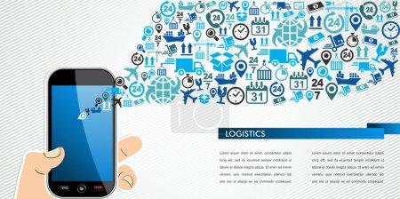 Versand Logistik mobile menschliche Hand Ikonen spritzen.