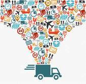 Shipping icons set Fast delivery truck concept illustration