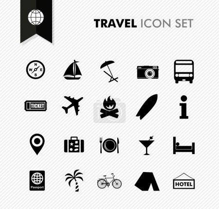 Illustration pour Voyage moderne vacances et icône de vacances ensemble. Fichier vectoriel en couches pour faciliter l'édition . - image libre de droit