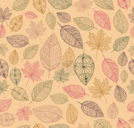 Illustration for Hand drawn tree leaves seamless pattern background. Autumn season concept. EPS10 vector file with transparency for easy editing. - Royalty Free Image