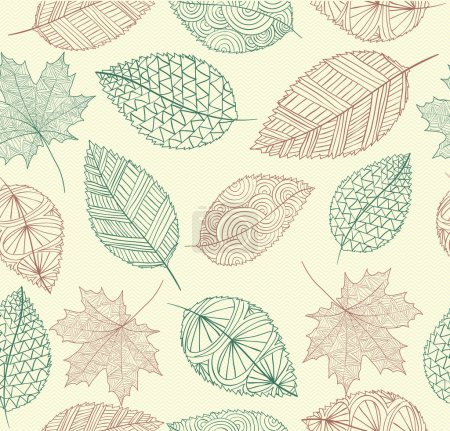 Vintage drawing fall leaves seamless pattern background. EPS10 f