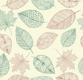 Vintage drawing fall leaves seamless pattern background EPS10 f