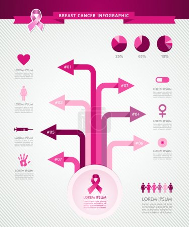 Illustration for Breast cancer awareness infographics ribbon symbol tree links information graphic icons template. EPS10 vector file organized in layers for easy editing. - Royalty Free Image