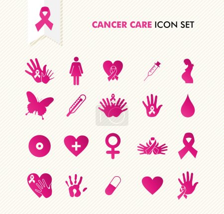Illustration for Breast cancer awareness ribbon symbol and health care elements icons set. EPS10 vector file organized in layers for easy editing. - Royalty Free Image