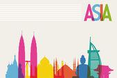 Diversity monuments of Asia famous landmark colors transparency