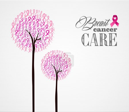 Illustration for Breast cancer awareness conceptual forest with pink ribbons. EPS10 vector file organized in layers for easy editing. - Royalty Free Image
