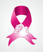 Global Breast cancer awareness human hands ribbon symbol EPS10 f