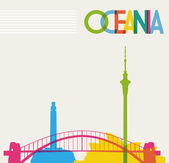 Diversity monuments of Oceania famous landmarks colors transpar