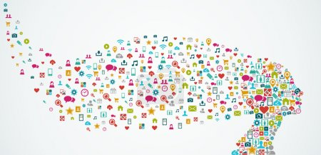 Illustration pour Silhouette tête de femme faite avec les médias sociaux icônes splash concept illustration. fichier vectoriel EPS10 organisée en couches pour faciliter l'édition. - image libre de droit