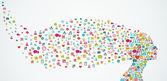 Human head shape social media icons composition EPS10 file