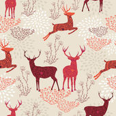 Vintage Christmas elements reindeer and snowflakes seamless pattern background EPS10 vector file organized in layers for easy editing