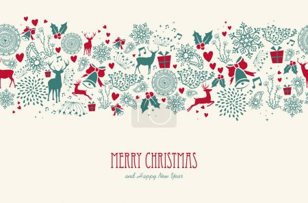 Vintage Christmas reindeer seamless pattern background. EPS10 fi