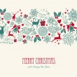 Vintage Christmas elements, reindeer with text sea...