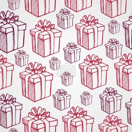 Illustration pour Éléments de Noël vintage, cadeaux et boîtes cadeaux fond de motif sans couture. Fichier vectoriel EPS10 organisé en couches pour faciliter l'édition . - image libre de droit