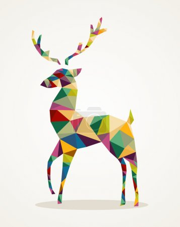 Illustration for Isolated Merry Christmas colorful abstract reindeer with geometric composition. EPS10 vector file organized in layers for easy editing. - Royalty Free Image