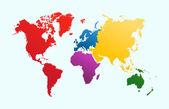 Mapa světa, barevné kontinenty atlas eps10 vektorový soubor