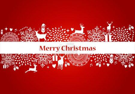 Illustration pour Décorations de Noël éléments et ornements sur fond de carte postale rouge. Fichier vectoriel organisé en couches pour faciliter l'édition . - image libre de droit