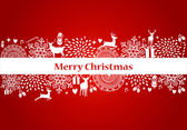 Merry Christmas elements red postcard vector file