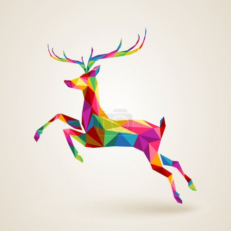 Illustration for Merry Christmas color abstract reindeer geometric composition. EPS10 vector file organized in layers for easy editing - Royalty Free Image