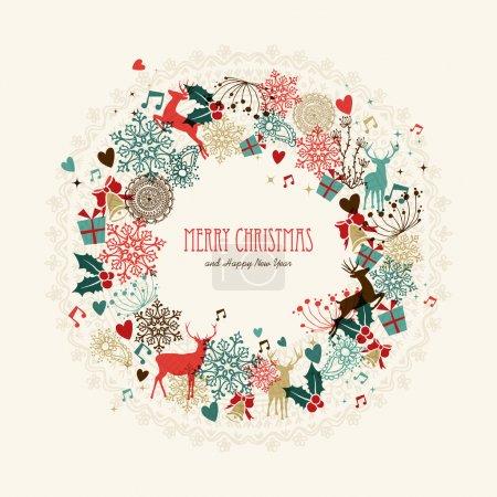 Illustration pour Vintage guirlande de Noël couleurs transparentes éléments carte postale. Fichier vectoriel EPS10 avec couches de transparence . - image libre de droit