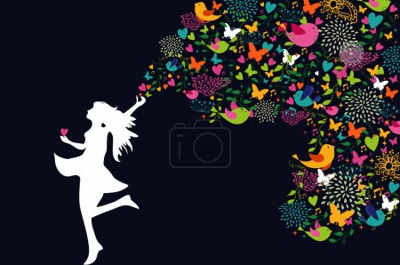 Happy woman silhouette colorful card