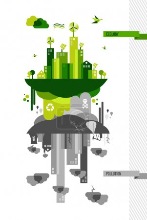 Illustration for Ecology and pollution city concept. Go green environment idea illustration. EPS10 vector organized in layers for easy editing. - Royalty Free Image