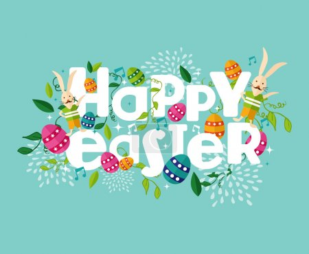 Illustration for Colorful Happy Easter greeting card with flowers eggs and rabbit elements composition. EPS10 vector file organized in layers for easy editing. - Royalty Free Image