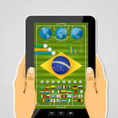 Brazil soccer championship tablet pc infographic with world map and icons elements EPS10 vector organized in layers for easy editing