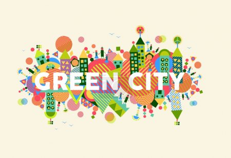 Illustration for Colorful green city. Environment and ecology sustainable development concept illustration. EPS10 vector file organized in layers for easy editing. - Royalty Free Image