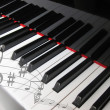 Piano keys with notes, musical background....