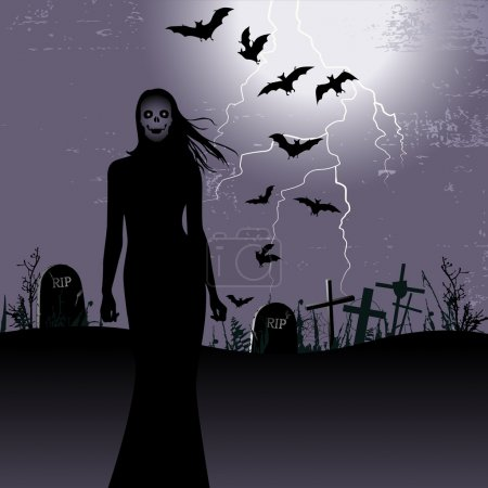 Halloween background with woman ghost