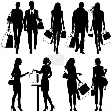 Illustration pour Plusieurs, shopping - vector silhouettes - image libre de droit