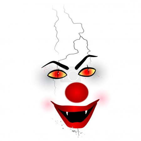Scary face - clown on the white background