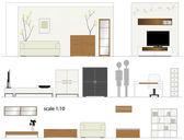 Furniture Design living room Interior furniture Scale 1:10